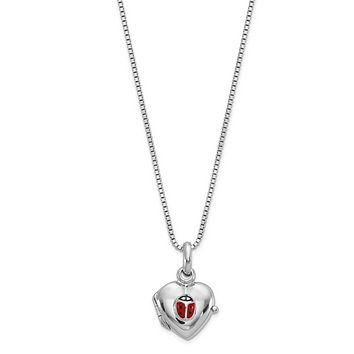 Sterling Silver Children's Heart Ladybug Locket Necklace With Pink Gift Pouch