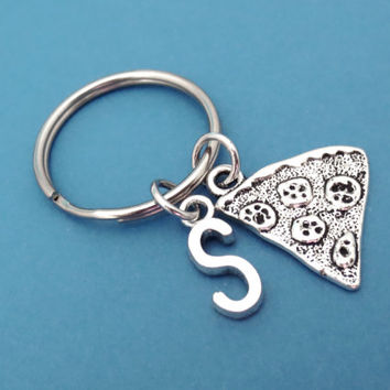 Personalized, Pizza, Keychain, Initial, Pizza, Keyring, Key chain, Key ring, Key, Chain, Gift, Birthday, For, Friends, Sisters