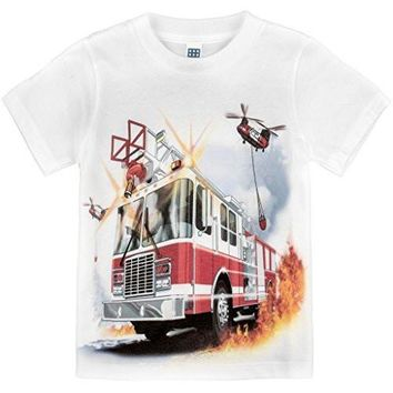 Shirts That Go Little Boys' Fire Truck & Helicopters T-Shirt