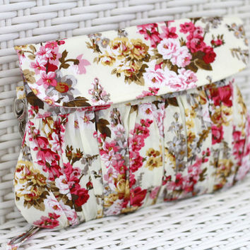 Spring Floral Clutch, Gathered cotton clutch, Pink and white