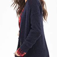 Marled Knit Button-Front Cardigan