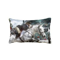 Over Easy Hunter Jumper Show Jumping Throw Pillows from Zazzle.com