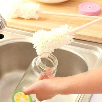 Clean Brush - Iusun 1Pcs Sponge Cleaner Long Handle Brush Glass Bottle Cups Kitchen Wash Kitchen Cleaning Tool (white)