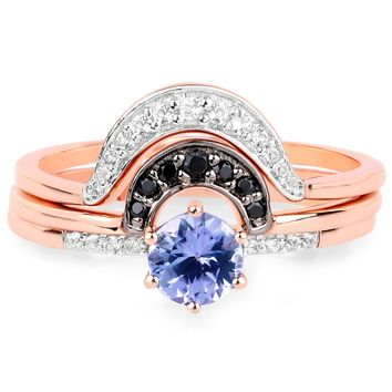 LoveHuang 0.61 Carats Genuine Tanzanite, Black Spinel, and White Topaz Stacking Ring Solid .925 Sterling Silver With 18KT Rose Gold Plating, 3 Separate Rings