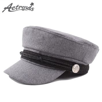 [AETRENDS] New Cotton Flat Hats for Men Women Military Caps Army Cap Captain Hat gorra militar Z-6312