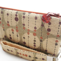 Amber yellow clutch / small purse / zipper pouch & detachable key fob gift set for women in mid century modern style fabric