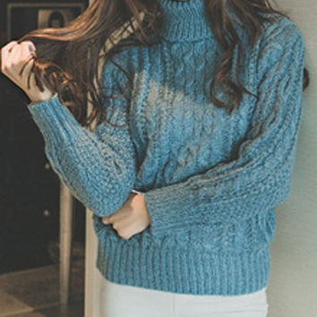 Turtleneck Twist Wave Pattern Pullover Sweater