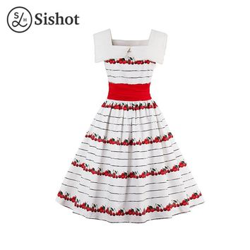 Women Summer White Retro Dress Lace Collar Cherry Print Pleats Sleeveless Red A Line Crew Neck Vintage Dress