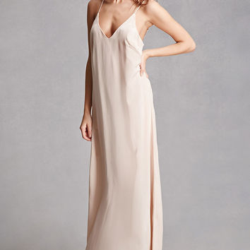 Satin V-Neck Maxi Dress
