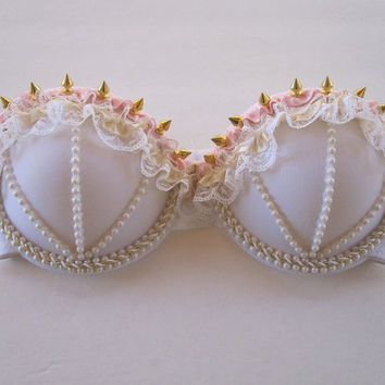 Spiked gold // pearl // lace bra by LBraveattire on Etsy
