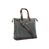 No. 24 The Olive, Carryall, Charcoal Waxed Canvas, Brown Leather