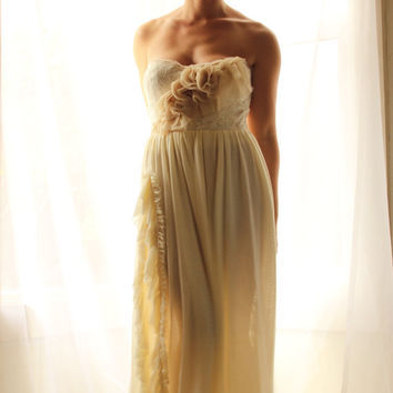 Romantic Bohemian Wedding Dress- ruffled bustier  Somme- Custom Gown and SAMPLE SALE