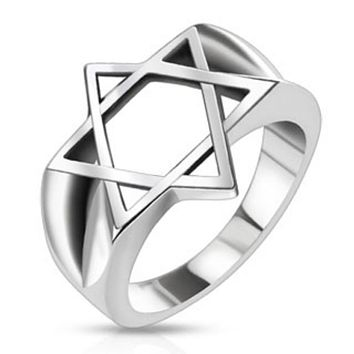 Hollow Star of David Wide Cast Ring Stainless Steel
