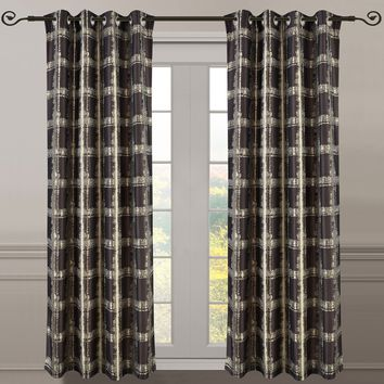 Chocolate Pair (Set of 2 ) Top Grommet Window Curtain Panels Abstract Jacquard Studio