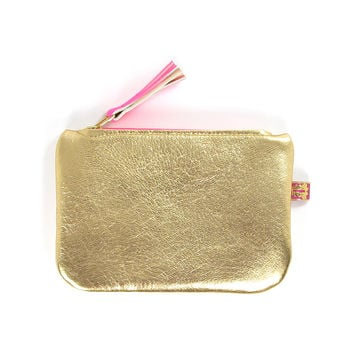 Leather Purse - Metallic Gold & Neon Pink