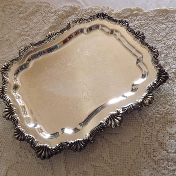 Heavy Silver Plate Tray, F B Rogers 1883 Footed Serving Tray