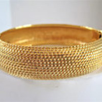 Monet Brushed Gold Bangle, Hinged Bracelet, Textured Gold Bangle