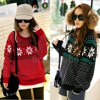XMAS Women Crew Neck Snowflake Pattern Knitwear Pullover Sweater Jumper Cardigan