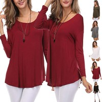 Casual Solid Color Plain Scoop Neck Jersey Knit Dolman Long Sleeve Top