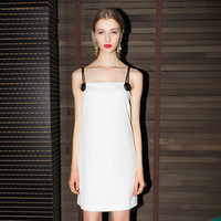 White Big Button Double Spaghetti Strap Mini Dress