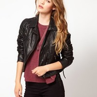 Urban Code Leather Biker Jacket at asos.com