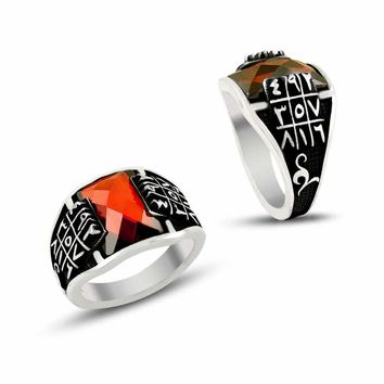 Ebced numerological with red zirconia stone sterling silver ring
