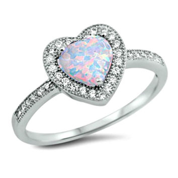 .925 Sterling Silver Halo White Fire Opal Heart Engagement Ring size 4-12