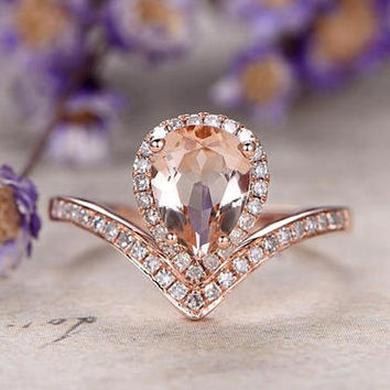 Pear Cut Morganite engagement ring with diamond,Solid 14k Rose gold wedding ring,promise ring art deco design custom made fine jewelry