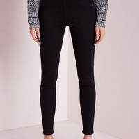 Missguided - Lawless High Waisted Side Zip Jeggings Black