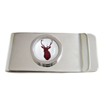 Circular Dark Red Stag Deer Head Money Clip