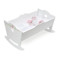 White Rose Doll Cradle with Bedding