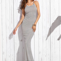 White Striped Halter Crisscross shirred Back Maxi Dress