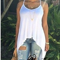 Women's Backless Irregular Round-neck Spaghetti Strap Tops White T-shirts [6048214785]