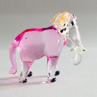 Figurine Miniature Hand Blown Glass Elephant.