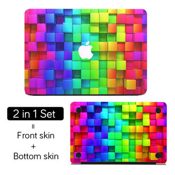 "3D Rainbow Colorful Diamonds Top + Bottom Full Cover Skin 2 in 1 Set Laptop Sticker for MacBook Air Pro Retina 11"" 12"" 13"" 15"""