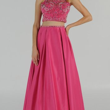 Hot Pink Two-Piece Long Prom Dress Satin Skirt with Pockets
