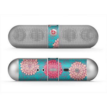 The Pink & Blue Floral Illustration Skin for the Beats by Dre Pill Bluetooth Speaker