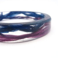 Small resin bracelet bangle jewelry , resin bangle petite bangle navy blue orchid purple wave mauve sea tape effect purple boutique