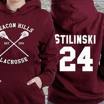 BEACON HILLS Lacrosse hooded teen wolf. Personalized back Stilinski 24,Lahey 14,Dunbar 09,Whittemore 37,McCall 11,Mahealani 06