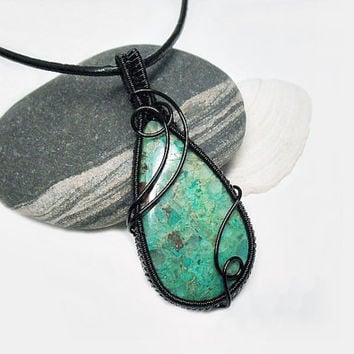 Azurite necklace, OOAK Wire wrapped Azurite, blue and green stone, black copper wire, black leather necklace, unique necklace for women