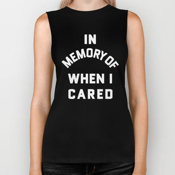 IN MEMORY OF WHEN I CARED (Black & White) Biker Tank by CreativeAngel