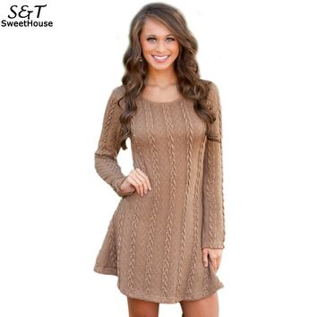 Women Dress Vestidos Winter Christmas Dress 2017 Warm Solid Long Sleeve Knitted Sweater Mini Bandage Dresses Plus Size S-XL