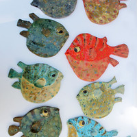Blowfish IV - Ceramic Fish Wall Decor
