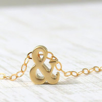 Ampersand Necklace in Gold, Teeny Tiny &