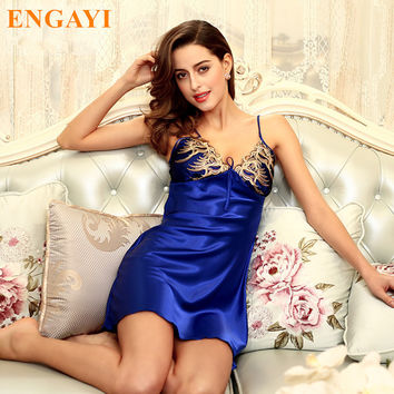 New Summer Sexy  Robes Bathrobe For Women Silk Satin Nightgown Nightwear Sexy Lace Night Dress Nightdress Night Gown DQ111