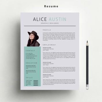 Resume Template with FREE Matching Cover from marufstudio on Etsy