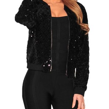 Women BlingBling Sequin Outwear Zipper Front Long Sleeve Bomber Jacket Basic Coat female Baseball Coat Ladies Bolero 2018 Black