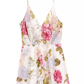 Pink Floral V-Back Mini Cami Dress