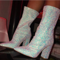 Hot style is a hot seller of sexy sequined boots with pointy toes and thick heels