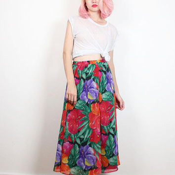 Vintage 1980s Skirt Bold Red Rainbow Floral Print Sheer Midi Skirt Boho Tropical Hawaiian Pretty 80s Knee Length Skirt Dancing M L Large XL